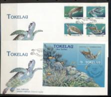 Tokelau 1995 Green Sea Turtles 2x FDC - Tokelau