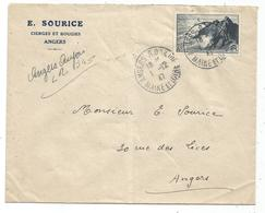N° 764 LETTRE REC PROVISOIRE MENTION MANUSTCRITE ANGERS ANJOU 1.12.1947 MAINE ET LOIRE - Postmark Collection (Covers)