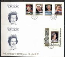 Tokelau 1996 QEII 70th Birthday 2x FDC - Tokelau