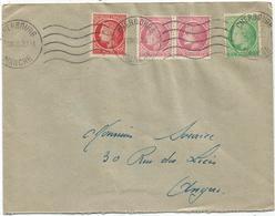 MAZELIN 1FR+2FR+1FR50 PAIRE LETTRE CHERBOURG 3.VII.1948 AU TARIF - Marcophilie (Lettres)