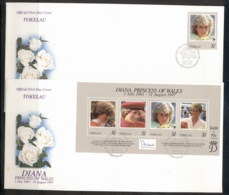 Tokelau 1998 Princess Diana In Memoriam 2x FDC - Tokelau