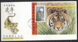 Tokelau 1998 Year Of The Tiger MS FDC - Tokelau