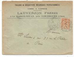 N° 117 LETTRE ENTETE SANCERGUES CHER  AMBULANT CLERMONT A PARIS 1°H 1901 - Marcophilie (Lettres)