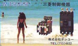 Télécarte Japon * EROTIQUE *   (6515) MITSUBISHI *  EROTIC PHONECARD JAPAN * TK * BATHCLOTHES * FEMME SEXY LADY LINGERIE - Mode