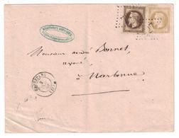 1868 - LETTRE 40c EN DOUBLE PORT AFFRANCHIE AVEC NAPOLEON LAURÉ 30c + 10c (n° 28 + 30) De CAPESTANG HERAULT Pr NARBONNE - Marcofilie (Brieven)
