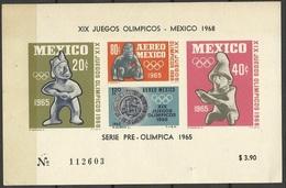 Mexique Bloc N° 3 J.O. Mexico Série Pre Olympique 1965 Sports Mayas Neuf * * B/TB= MNH F/VF Soldé à Moins De 20 %  ! ! ! - Summer 1968: Mexico City