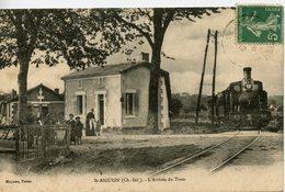 1370. CPA 17 ST-AIGULIN. L'ARRIVEE DU TRAIN 1912 - Francia