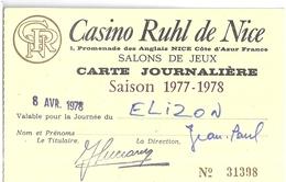 CASINO RUHL DE NICE- SALONS DE JEUX- CARTE JOURNALIERE  SAISON 1977.78   N°31398 - Mappe