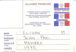 ALLIANCE FRANCAISE -FRENCH SOUTH AFRICAN CULTURA CENTRE -GARDINER HOUSE,GARDINER STREET ,DURBAN 1975 - Sin Clasificación