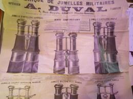 """GP 2019 - 1668   XXX  Grande Affiche PUB  """"Fabrique De Jumelles Militaires  A DUVAL  Annecy""""  RARE  XXXX - Reclame"""