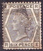 GREAT BRITAIN 1882 QV 6d Grey Plate 18 SG161 FU - 1840-1901 (Victoria)