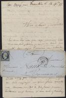 Crimée Camp Sous Traktir Ou Bataille Tchernaïa YT 14 ND Oblit Losange AO CAD Armée D'Orient BAU A 1855 - Postmark Collection (Covers)