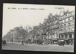 Paris / Boulevard Saint-Martin Et Théatre De L Ambigu / Jolie CPA Animée Kiosque à Journaux Publicité JOB & FIX - Arrondissement: 03