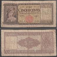Vecchia Banconota Da 500 Lire Da Classificare (qualità Scadente Come Da Fotografia) - Non Classificati
