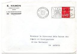 COTES Du NORD - Dépt N° 22 = GUINGAMP 1971 = FLAMME à DROITE = SECAP Illustrée  'Repos Entre Mer Et Bois ' - Postmark Collection (Covers)