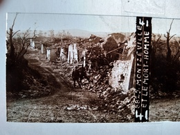 Guerre 1914-18 -  Montzeville Et Le Mort Homme - Ruines - Plaque De Verre StéréoscopiqueTBE - Diapositiva Su Vetro