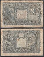 Vecchia Banconota Da 10 Lire Da Classificare (qualità Scadente Come Da Fotografia) - Unclassified