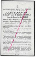 En 1931 Saint Jans Cappel - Boeschèpe (59) Jules BODDAERT ép Lebleu Et Heyman Né En 1883 - Décès