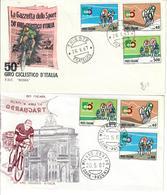 ITALIA 1967 - 50° GIRO D'ITALIA    - 2 DIVERSE   FDC - 6. 1946-.. Repubblica