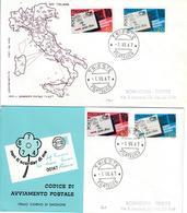 ITALIA 1967 - CODICE AVVIAMENTO POSTALE 2 DIFFERENTI   FDC - 6. 1946-.. Republic