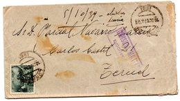 Carta Con Censura Militar Logroño De 1939 Direccion Teruel. - 1931-50 Cartas