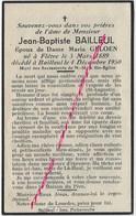 En 1950 Flètre Et Bailleul- (59)  Jean Baptiste BAILLEUL Ep Marie GELOEN - Décès