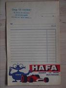 CARNET DE 6 FACTURES  HAFA HUILE MULTIGRADE DOPY FORMULE 1 VOITURE GARAGE LE MISTRAL MAILLANE - Publicités