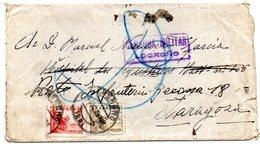 Carta Con Censura Militar Logroño De 1939 Y Matasello Rodillo Por Detras Zaragoza. - 1931-50 Cartas