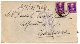 Carta Con Censura Militar Logroño De 1939 Y Matasello  Por Dtras. - 1931-50 Cartas