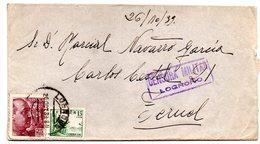 Carta Con Censura Militar Logroño De 1939.- - 1931-50 Cartas