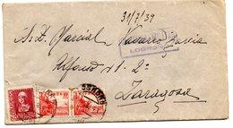 Carta Con Censura Militar Logroño De 1939.-matasello Zaragoza Por Detras. - 1931-50 Cartas
