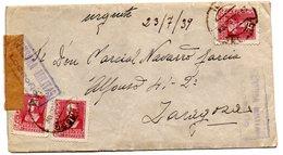 Carta Con Censura Militar Logroño De 1939.-matasello Ministerio Gobernacion Por Detras. - 1931-50 Cartas