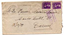Carta Con Censura Militar Logroño De 1939.-matasello Rodillo Logroño. - 1931-50 Cartas