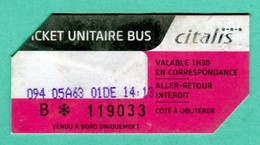 Ile De LA REUNION - TROIS  Tickets De Bus  - Bus Ticket  CITALIS (Im 149) - Bus