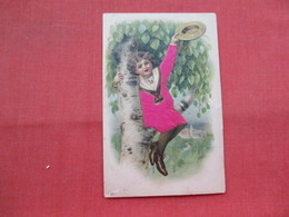 Embossed Silk Added-- Child In Tree  Ref 3453 - Children