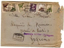 Carta Con Censura Militar Zaragoza. Matasello Certificado. - 1931-50 Cartas