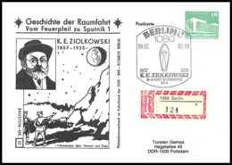 8979/ Espace (space) Lettre Cover 9/2/1982 Ziółkowski Geschichte Der Sputnik Spoutnik 1 Allemagne (germany DDR) - Covers & Documents