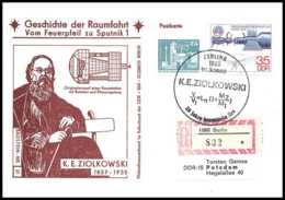 8982/ Espace (space) Lettre Cover 19/2/1982 Ziółkowski Geschichte Der Sputnik Spoutnik 1 Allemagne (germany DDR) - Covers & Documents