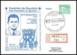8993/ Espace (space Raumfahrt) Lettre (cover) 22/12/1982 Gluschko Geschichte Der Sputnik Allemagne (germany DDR) - Covers & Documents
