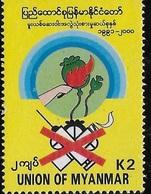 Myanmar Burma 2000 Campaign Against Drugs MNH - Myanmar (Burma 1948-...)