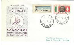 ITALIA 1963 - VISITA AL QUIRINALE PAPA GIOVANNI XXIII - FDC - 6. 1946-.. Repubblica