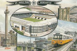 St James Park Newcastle Stadium Train Bus Fans To Ground 1996 Postcard - Soccer