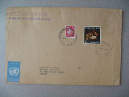 Nouvelle-Zélande Masterton 1968 Lettre Postal History pour France - New Zealand Cover Fleur Nativité Nativity +Vignette - Nouvelle-Zélande