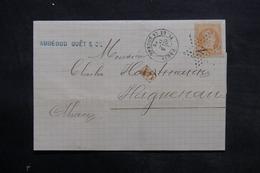 FRANCE - Lettre De Paris Pour Haguenau En 1872 , Affranchissement Napoléon , étoile 1 - L 34001 - 1849-1876: Période Classique