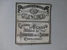Châtellerault, G. Michaud, Distillateur Alccol De CRESSON !!! étiquette PUB  ; Ref314 ; PAP04 - Werbung