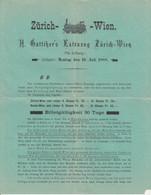 H. Gattiker's Extrazug Zürich-Wien 1888 Railway Advertising / Pricelist B190701 - Other