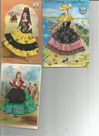 Lot 3 Cartes   .....FEMMES  PROVENCALES   EN JUPE TISSU - Vestuarios