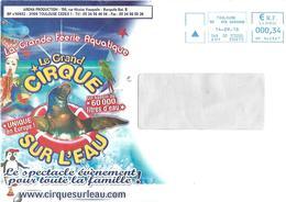 EMA HP 140367 Haute Garonne Enveloppe Illustrée Cirque Sur L'eau Clown Otarie Perroquet Requin - Circus