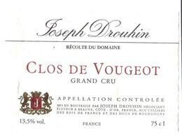 Etiquette Clos De Vougeot  - Domaine Drouhin Joseph - Bourgogne