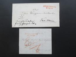 Vorphila 1844 Und 45 Baden Roter Stempel L2 Pforzheim 2 Faltbriefe Mit Inhalt!! - [1] ...-1849 Precursores